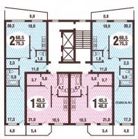 Дома ГМС-3 - типовые планировки квартир в жилой секции дома серии  гмс3