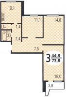 Дома серии П44, планировки квартир с размерами - Планировка трёхкомнатной квартиры