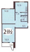Дома серии П44, планировки квартир с размерами - Планировка двухкомнатной квартиры  ( серия П44 )